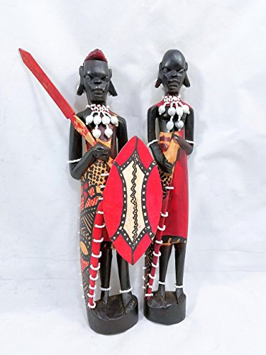 Maasai Masai Warrior and Wife Figurines