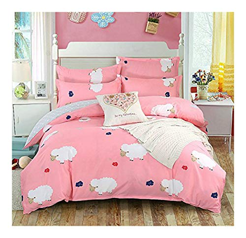 (NOVA Bed Set Beddingset Duvet Cover Without Comforter One Flatsheet Two Pillowcase FD Twin Sheets Set Happy Sheep Design for Kids Adults Teens(Twin, Happy Sheep, Pink))