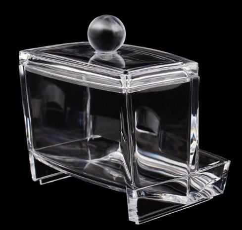 Happyi Acrylic Cotton Swab Box/cotton Ball Storage/makeup Pads Holder/cosmetics Organizer/toothpick Holder/workbox Container Exquisite Crystal Clear