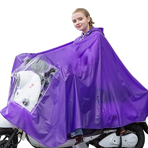 Women's and Men's Double Hat Protective Face Poncho Unisex Hooded Raincoat for Motorcycle and Bicycle Purple