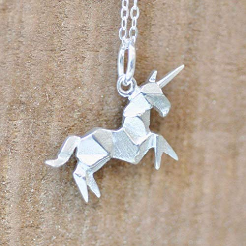 (Origami UNICORN Necklace in Sterling Silver with 16