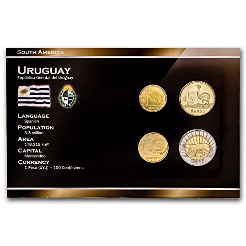 UY 2000 Uruguay 1-10 Peso 4-Coin Set BU Brilliant Uncirculated (Gold 2 Peso)