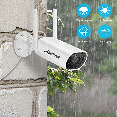 ANRAN Caméra de Surveillance sans Fil pour L'extérieur à L'intérieur, Caméra IP 2MP avec Carte SD 32GB Caméra de Sécurité étanche avec Détecteur de Mouvement à Vision Nocturne 4X Zoom électronique