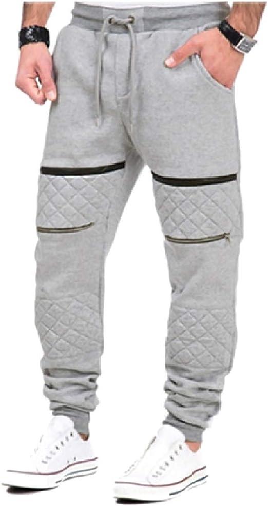 Candiyer メンズスリムフィットファッションパッチワークフリーススリミングアスレチックジョガーパンツ