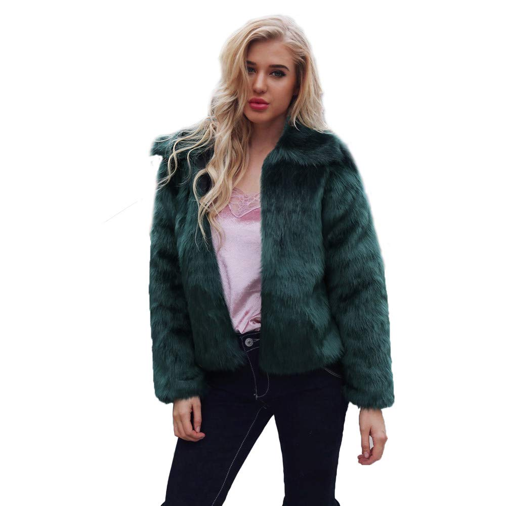 HOSOME Women Faux Fur Coat Lapel Collar Warm Winter Coat Outercoat Green
