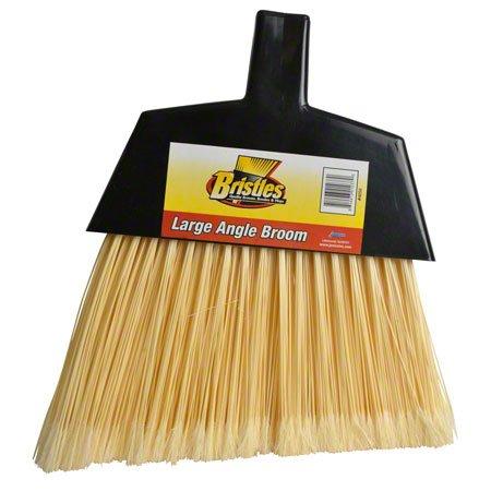 Janico 4050 Bristles Angle Broom, Flagged Poly Bristles, Split Tip Fibers, Metal Handle, Natural