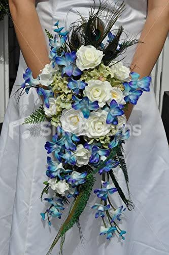 Bouquet Sposa Orchidee Blu.Accattivante Bouquet Da Sposa In Cascata Di Orchidea Blu