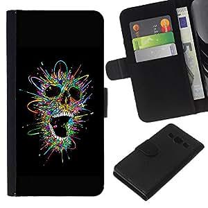 Be-Star la tarjeta de Crédito Slots PU Funda de cuero Monedero caso cubierta de piel Para Samsung Galaxy A3 ( Black Colorful Skull Explosion Metal )
