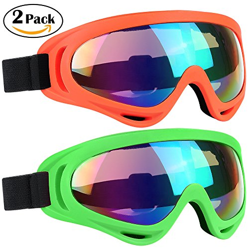 Ski Goggles 2 Packs, Multicolor Lenses Snow Goggles with Wind Dust UV 400 Protection for Women Men Kids Girls Boys Winter Snowboard Snowmobile Skiing Skate Motorcycle Bicycle Riding (Orange/Green)