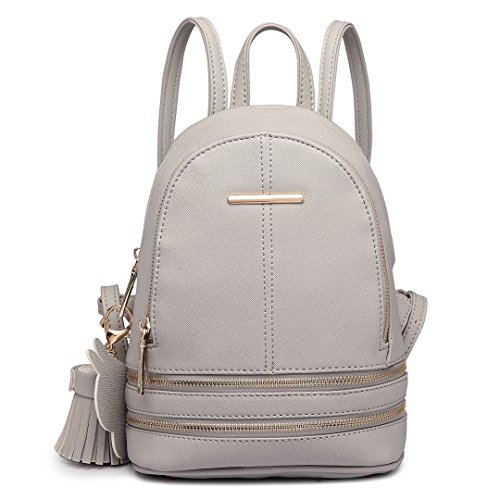 Miss Lulu Casual Fashion Cute Saffiano Cross Pattern Pu Leather Satchel Backpack for Girls Women (1705 Grey)