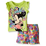 Disney Baby Girls' Minnie Mouse Woven Short Set with Fashion Top, Yellow, 18 Months