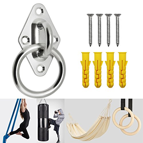 Yotako 8mm Heavy Duty Anchor Diamond Pad Eye Plate, 397lbs Ceiling Hooks Wall Mount Bracket for Home Suspension Trainer Straps Gymnastic Rings, Boat & Marine Deck Hardware