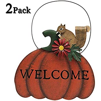 ATDAWN Pumpkin Hanging Welcome Sign for Halloween Decoration, Hanging Wall Decor Door Sign