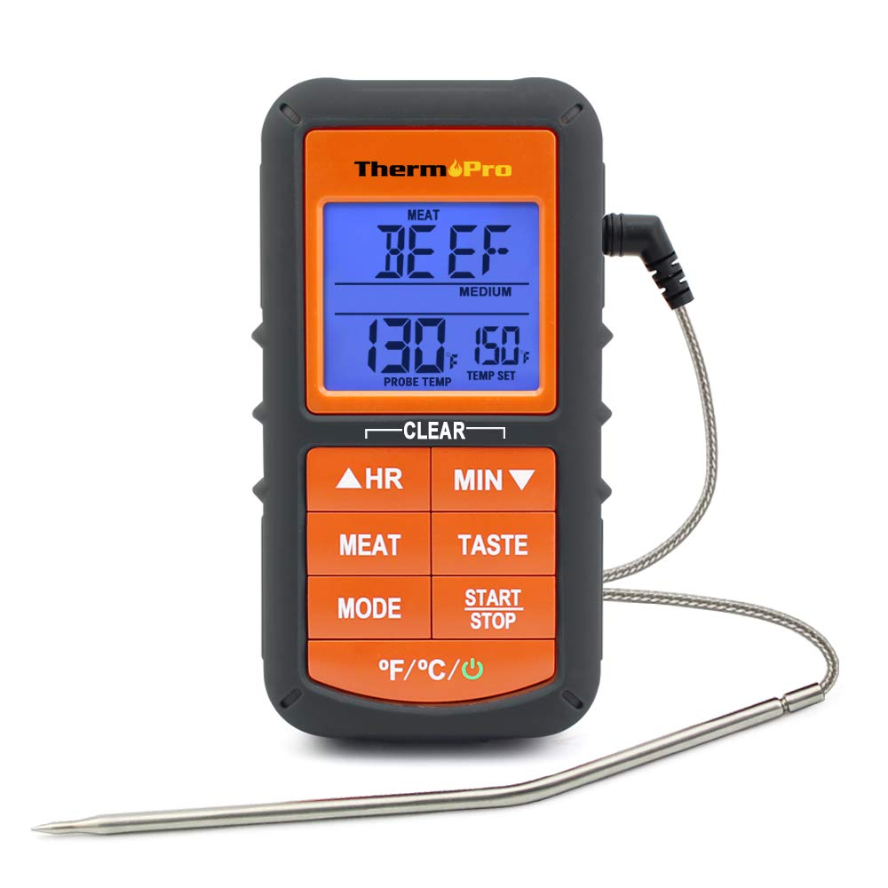 ThermoPro TP06S Digital Grill Meat Thermometer with Probe for Smoker Grilling Food BBQ Thermometer,Smart Cooking Timer Alarm and 3 Colors Display