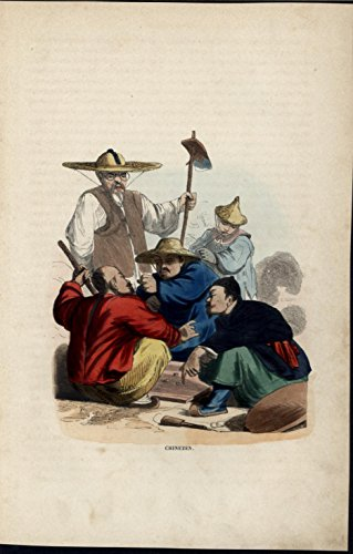 e Game Smoking Pipe c.1852 antique hand color costume print ()