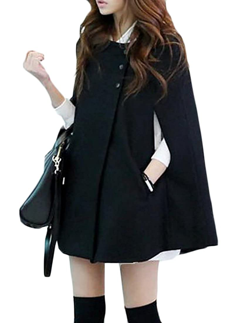 M2MO-Women Batwing Cape Wool Poncho Jacket Warm Cloak Coat Hooded