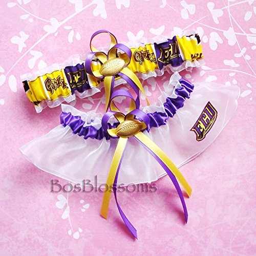 (Customizable - EAST CAROLINA PIRATES fabric handmade into bridal prom white organza wedding garter set with your choice charms of footballs basketballs baseballs hearts or rhinestones)