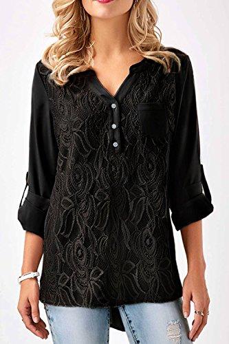 Les Chemisier V Cou T Patchwork Plain Femmes Shirt Retrouss Mupoduvos Les Black Dessus Lace gpzqZnB