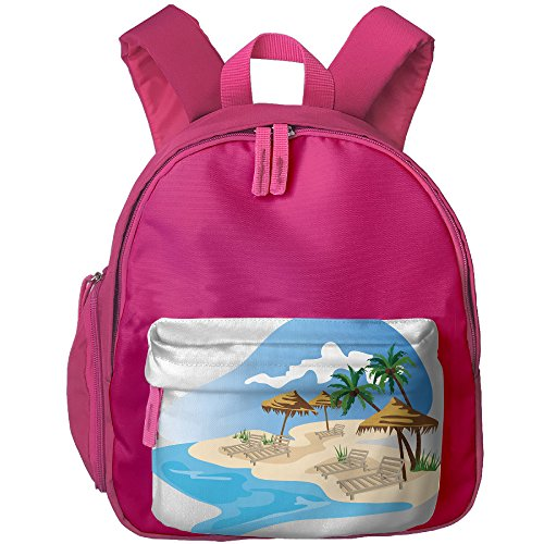 Palm Tree Beach Child Book Bag,Cute Unisex Polyester Oxford - Street Oxford Los Angeles