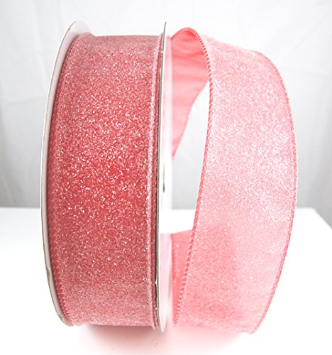 Wire Edged Taffee Shimmering Coral or Pink Ribbon 1 1/2
