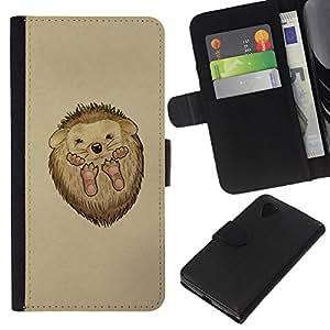 KingStore / Leather Etui en cuir / LG Nexus 5 D820 D821 / Erizo espinas animal lindo del dibujo del arte