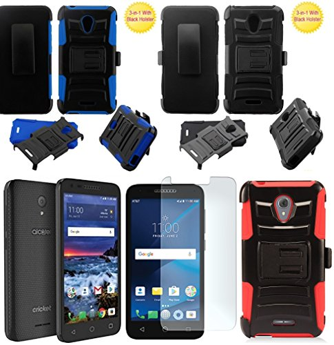 ([ NP ARMOR ] Premium Tempered Glass Screen Protector + Holster Belt Clip Phone Case for Alcatel Verso/Alcatel IdealXcite/Raven LTE A574BL / Alcatel CameoX 5044R / Alcatel U50 5044S (Black Holster) )