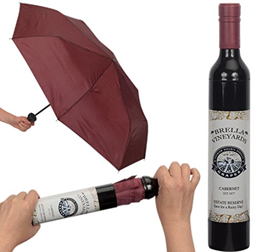 Playmaker Toys Brella Vineyards Cabernet Wine Bottle Hidden Umbrella, Burgundy ()