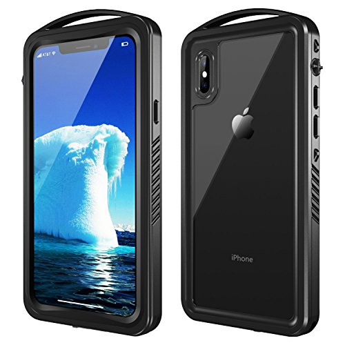 SNOWFOX iPhone X/XS Waterproof Case, Full Body Rugged Underwater Case with Built-in Screen Protector Shockproof Dirtproof Snowproof IP68 Certified for iPhone X/XS 5.8 inch (Black)