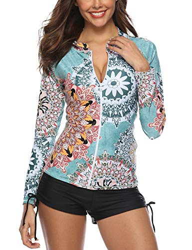 Caracilia Women's Long Sleeve Tankini Set Boyshort Two Piece Swimsuit F17S-L 108 ()