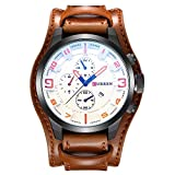 CURREN Original Men's Sports Waterproof Leather Strap Date Wrist Watch Good Quality 8225 Brown White