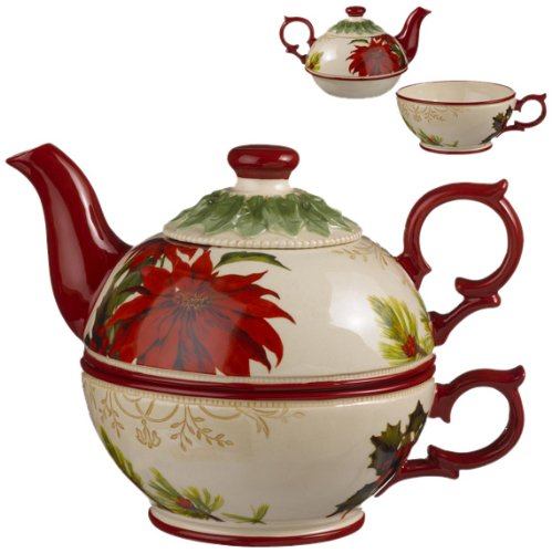 Nature Sing Poinsettia Holly Leaf Stacking Stoneware Tea for One Teapot, Gift Boxed (One Stacking Teapot Set)
