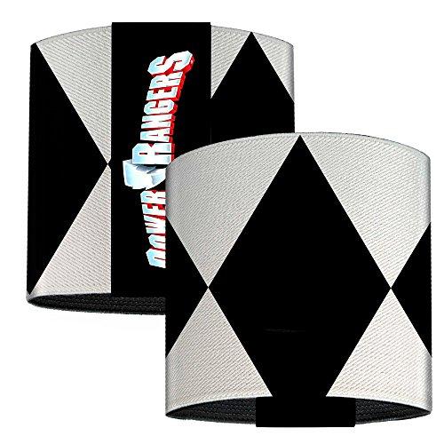 Black Ranger Sleeve Diamonds White Black Elastic Wrist Cuff 3.0