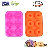 Donut Pan,2 Pack Silicone Donut Molds Non-Stick Safe Baking Tray Maker Pan for Oven Cake Biscuit (Rose Red+Orange)
