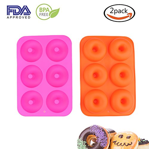 Donut Pan,2 Pack Silicone Donut Molds Non-Stick Safe Baking Tray Maker Pan for Oven Cake Biscuit (Rose Red+Orange) by Sundarling