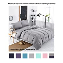 Moreover 4-Pieces Grey Bedding, Lightweight Micrifiber Grey Duvet Cover Set, Solid Color Bedding Sets, One Flat Sheet One Duvet Cover Two Pillowcases (Full, Grey)