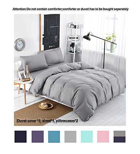 Grey Bedding Microfiber Silver Grey Duvet Cover Set 4-Pieces Ultra Soft Microfiber Solid Color Bedding Sets (1 Flat Sheet 1 Duvet Cover 2 Pillowcases) (Queen,Grey) (Dark Grey Comforter Set)