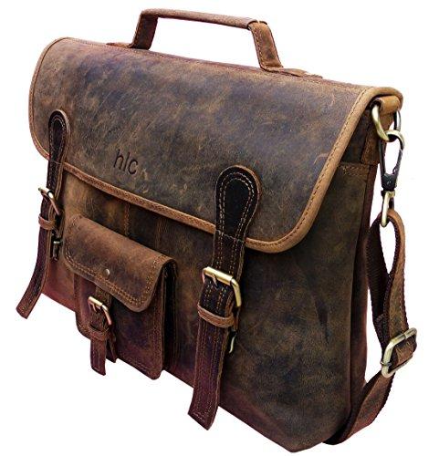"""Handolederco. Vintage in pelle borsa per laptop 15""""a mano Messenger borsa Crossbody Borsa a tracolla scuola borsa"""