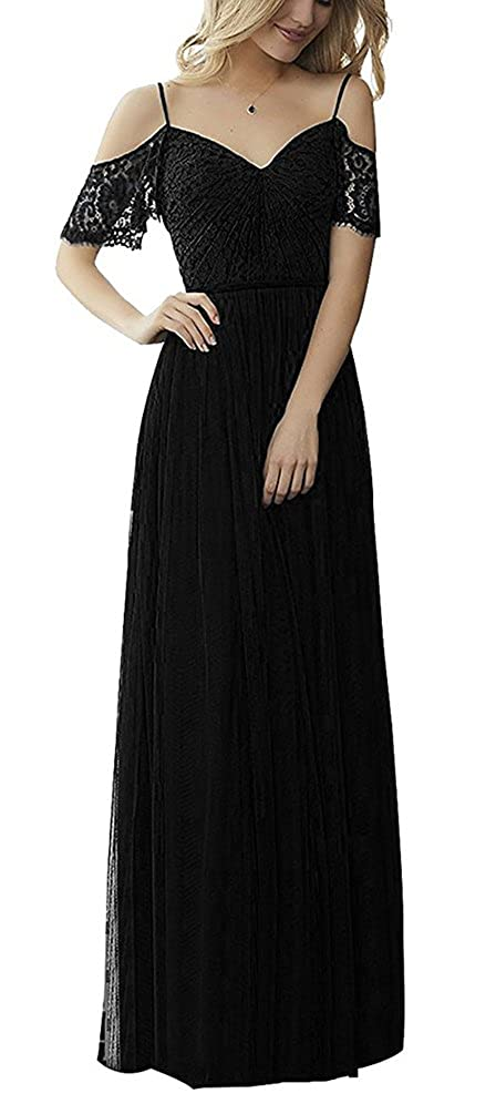 Black tutu.vivi Women's Off Shoulder Tulle Lace Bridesmaid Dresses Long Evening Formal Gowns Short Sleeves