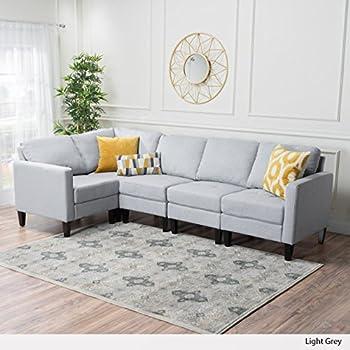Carolina Light Grey Fabric Sectional Sofa