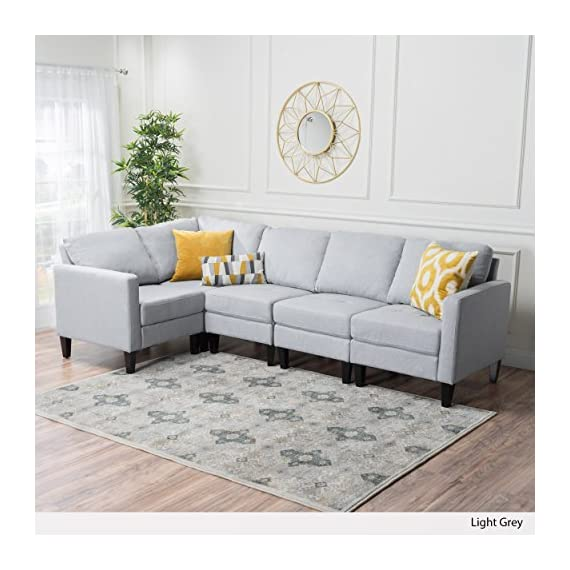 Carolina Sectional Sofa Set, 5-Piece Living Room Furniture, Light Grey - 5-PIECE COUCH SET: Our Carolina Light Sectional Couch will meet all your indoor furniture needs. This high-class lounge set includes a 5-piece sectional with 1 corner section, 2 armless chairs, and 2 armed chairs, making the perfect L-shaped sofa. This set comes in 3 color options: deep red, light grey, and dark blue. PERFECT FOR ANY DECOR SCHEME: At Great Deal Furniture, we bring you the best furniture available. You can match our stylish sectional set with any decoration theme because of its classy, modern appearance. Plus, you'll have plenty of space to entertain in your home. HIGH-QUALITY FABRIC: To give your space a cozy yet vibrant feel, we created our Carolina furniture set with durable polyester fabric that is easy to care for and built to last. With plush cushions and classic wooden feet, this couch will soon be your new favorite spot. - sofas-couches, living-room-furniture, living-room - 516B7PMx4QL. SS570  -