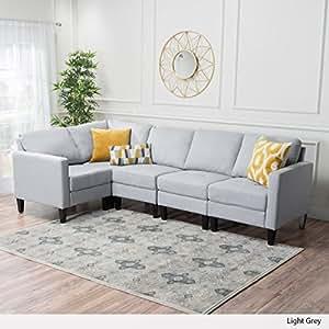 Carolina Sectional Sofa Set, 5-Piece Living Room Furniture, Light Grey
