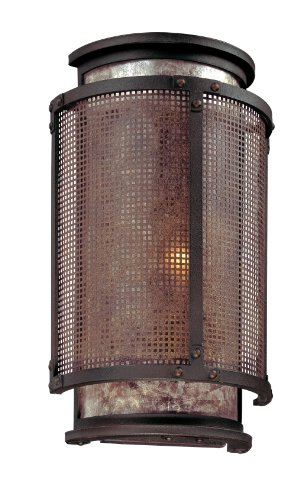 - Troy Lighting Copper Mountain 1-Light Wall Sconce - Copper Mountain Bronze Finish with Silver Mica Glass