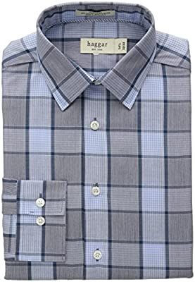 Haggar Men's Mechanical Stretch Medium Glen Plaid Fancy Poplin Long Sleeve Shirt, Medium Blue, 35
