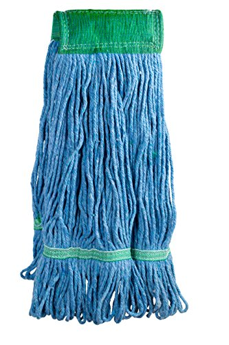 Stirrup Style Handle (Commercial Mop Head, Universal Headband, Blended Yarn, With Nylon Scrubbing Pad, Medium, 20 Ounce, 4-Ply, Blue.)