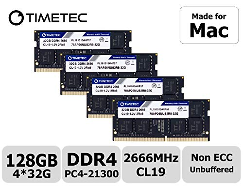 Timetec Hynix IC 128GB KIT(4x32GB) Compatible for Apple 2019 iMac 27-inch w/Retina 5K Display DDR4 2666MHz PC4-21300 2Rx8 CL19 1.2V SODIMM Memory RAM Upgrade (128GB KIT(4x32GB))