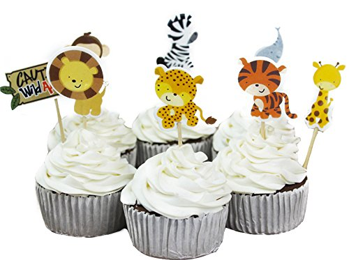 (48 Pcs TKOnline Zoo Cupcake Picks Kids Party Decoration Paper Cupcake Toppers, Cupcake Toppers Food Fruit Picks for Decoration)