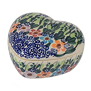 Traditional Polish Pottery, Handcrafted Ceramic Heart-Shaped Jewelery Box (90ml), Boleslawiec Style Patern, D.400.DAISY