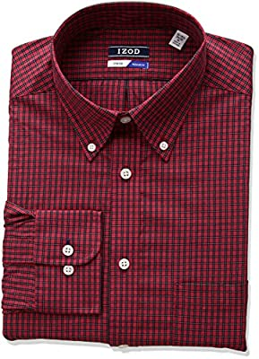 IZOD Men's Regular Fit Red Plaid Buttondown Collar Dress Shirt
