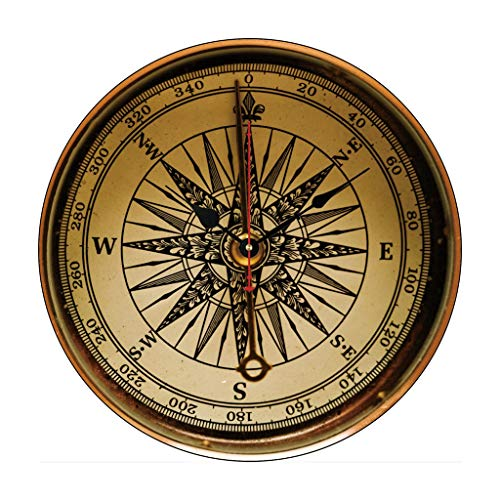 Moonluna Steampunk Nostalgic Old Brass Compass Nursery Wooden Wall Clock Battery Operated Roman Numerals Silent Non-Ticking 14 Inches Kids Clock