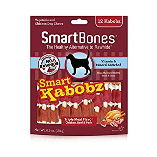 SmartBones Smart Kabobz 12 Count, Triple Flavor Rawhide-Free Chews For Dogs